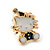 Children's/ Teen's / Kid's Small White/ Black Enamel 'Kitty in the Hat' Stud Earrings In Gold Plating - 13mm Length - view 2