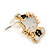 Children's/ Teen's / Kid's Small White/ Black Enamel 'Kitty in the Hat' Stud Earrings In Gold Plating - 13mm Length - view 3