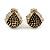 Children's/ Teen's / Kid's Small Black Enamel Crystal 'Ladybug' Stud Earrings In Gold Plating - 10mm Length