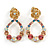 Multicoloured Austrian Crystal Rose With Oval Hoop Drop Earrings In Gold Plating - 32mm Length - view 8