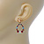Multicoloured Austrian Crystal Rose With Oval Hoop Drop Earrings In Gold Plating - 32mm Length - view 2