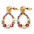 Multicoloured Austrian Crystal Rose With Oval Hoop Drop Earrings In Gold Plating - 32mm Length - view 7