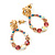 Multicoloured Austrian Crystal Rose With Oval Hoop Drop Earrings In Gold Plating - 32mm Length - view 5