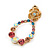 Multicoloured Austrian Crystal Rose With Oval Hoop Drop Earrings In Gold Plating - 32mm Length - view 9