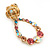 Multicoloured Austrian Crystal Rose With Oval Hoop Drop Earrings In Gold Plating - 32mm Length - view 4
