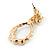 Multicoloured Austrian Crystal Rose With Oval Hoop Drop Earrings In Gold Plating - 32mm Length - view 6