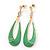 Lawn Green Enamel Teardrop Earrings In Gold Plating - 65mm Length
