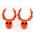 Teen Skull and Antlers Stud Earrings in Neon Orange - 3.5cm in Height