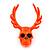 Teen Skull and Antlers Stud Earrings in Neon Orange - 3.5cm in Height - view 2