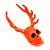 Teen Skull and Antlers Stud Earrings in Neon Orange - 3.5cm in Height - view 3