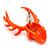 Teen Skull and Antlers Stud Earrings in Neon Orange - 3.5cm in Height - view 4