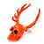 Teen Skull and Antlers Stud Earrings in Neon Orange - 3.5cm in Height - view 5