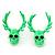 Teen Skull and Antlers Stud Earrings in Neon Green - 3.5cm in Height