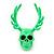 Teen Skull and Antlers Stud Earrings in Neon Green - 3.5cm in Height - view 2