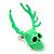 Teen Skull and Antlers Stud Earrings in Neon Green - 3.5cm in Height - view 3