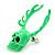 Teen Skull and Antlers Stud Earrings in Neon Green - 3.5cm in Height - view 4
