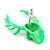 Teen Skull and Antlers Stud Earrings in Neon Green - 3.5cm in Height - view 5