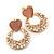 Pink Heart & Flower Diamante Hoop Earring In Gold Plating - 30mm Length