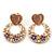 Pink Heart & Flower Diamante Hoop Earring In Gold Plating - 30mm Length - view 2