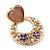 Pink Heart & Flower Diamante Hoop Earring In Gold Plating - 30mm Length - view 3
