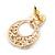 Pink Heart & Flower Diamante Hoop Earring In Gold Plating - 30mm Length - view 4