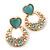 Light Blue Heart & Flower Diamante Hoop Earring In Gold Plating - 30mm Length