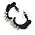 Teen Skulls and Spikes Small Hoop Earrings in Black (Silver Tone) - 30mm Width