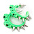 Teen Skulls and Spikes Small Hoop Earrings in Neon Green (Silver Tone) - 30mm Width