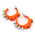 Teen Skulls and Spikes Small Hoop Earrings in Neon Orange (Silver Tone) - 30mm Width