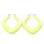 Large Matte Acrylic Square Doorknocker Hoop Earrings in Neon Yellow - 6cm Diameter - view 5