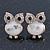 Funky White Enamel Crystal 'Owl' Stud Earrings In Gold Plating - 18mm Length