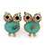 Funky Light Green Crystal 'Owl' Stud Earrings In Gold Plating - 18mm Length