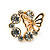 'Butterfly In The Crystal Circle' Stud Earrings In Gold Plating - 17mm Diameter - view 4