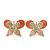 Coral/ Pink Enamel Diamante Double Butterfly Stud Earrings In Gold Plating - 25mm Width