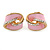 Baby Pink Enamel, Crystal Knot Clip On Earrings In Gold Tone - 15mm L