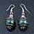 Silver Tone Dark Green Faux Pearl Drop Earrings - 4cm Drop - view 4