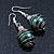 Silver Tone Dark Green Faux Pearl Drop Earrings - 4cm Drop - view 5