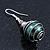Silver Tone Dark Green Faux Pearl Drop Earrings - 4cm Drop - view 6