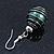 Silver Tone Dark Green Faux Pearl Drop Earrings - 4cm Drop - view 7