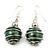 Silver Tone Dark Green Faux Pearl Drop Earrings - 4cm Drop - view 2