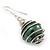 Silver Tone Dark Green Faux Pearl Drop Earrings - 4cm Drop - view 3