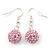 Light Pink Crystal 'Ball' Drop Earrings In Silver Plating - 35mm Length