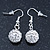 White Crystal 'Ball' Drop Earrings In Silver Plating - 35mm Length