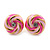 Light Pink/ Deep Pink Enamel, Diamante 'Candy' Stud Earrings In Gold Plating - 13mm Diameter