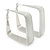 Contemporary Square White Enamel Hoop Earrings In Rhodium Plating - 50mm Width - view 4