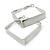 Contemporary Square White Enamel Hoop Earrings In Rhodium Plating - 50mm Width - view 6