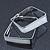 Contemporary Square White Enamel Hoop Earrings In Rhodium Plating - 50mm Width - view 2