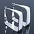 Contemporary Square White Enamel Hoop Earrings In Rhodium Plating - 50mm Width