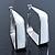 Contemporary Square White Enamel Hoop Earrings In Rhodium Plating - 50mm Width - view 8