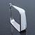 Contemporary Square White Enamel Hoop Earrings In Rhodium Plating - 50mm Width - view 3